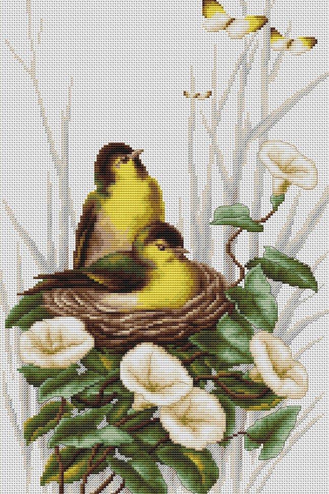 Вышивка птица в гнезде