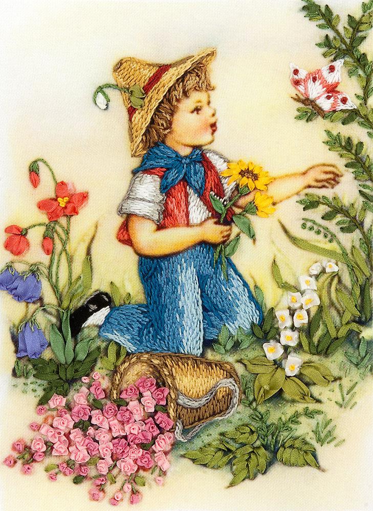 Картина Ирисы вышивка лентами