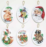 023-0216 Santa and Animals Ornaments