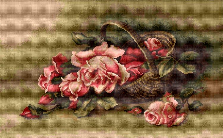 Вышивка крестом корзина с розами