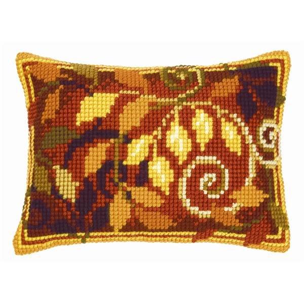 Осенние листья вышивка подушка 20
