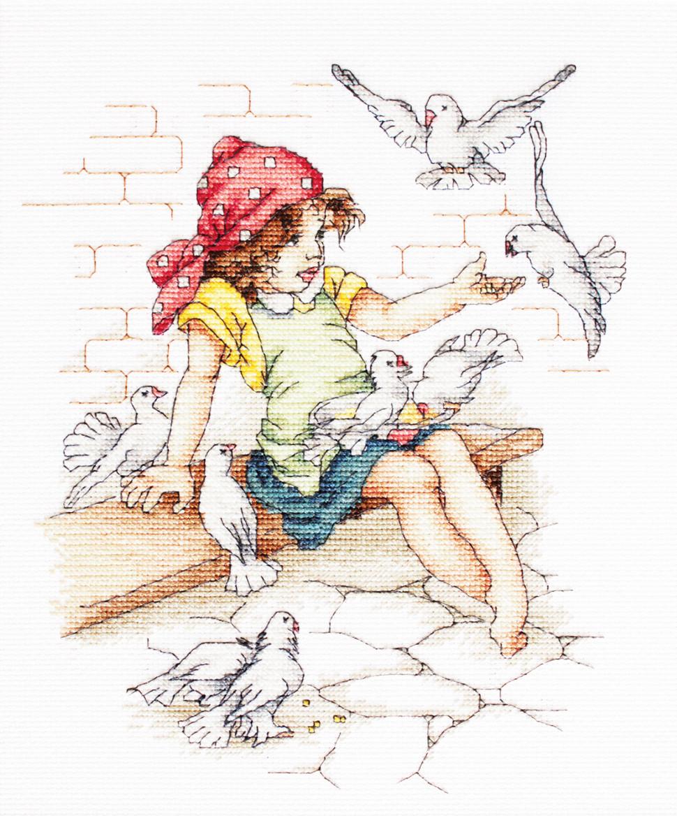 Девочка с голубями схема вышивки
