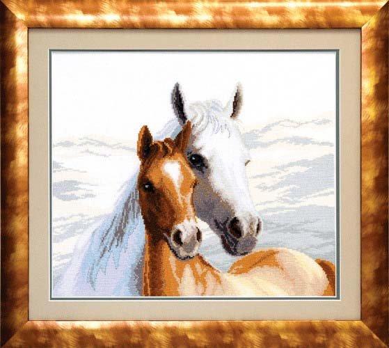 Вышивка крестом нежность лошади