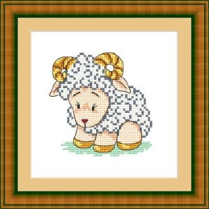 ЗВ-016 Барашка-кудряшка Набор для вышивания (счетный крест). Размер: 12 x 12 см. Производитель: Русский фаворит (Сделано с Любовью)