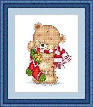 МК-023 С Рождеством! Набор для вышивания (счетный крест). Размер: 13 x 18 см. Производитель: Русский фаворит (Сделано с Любовью)