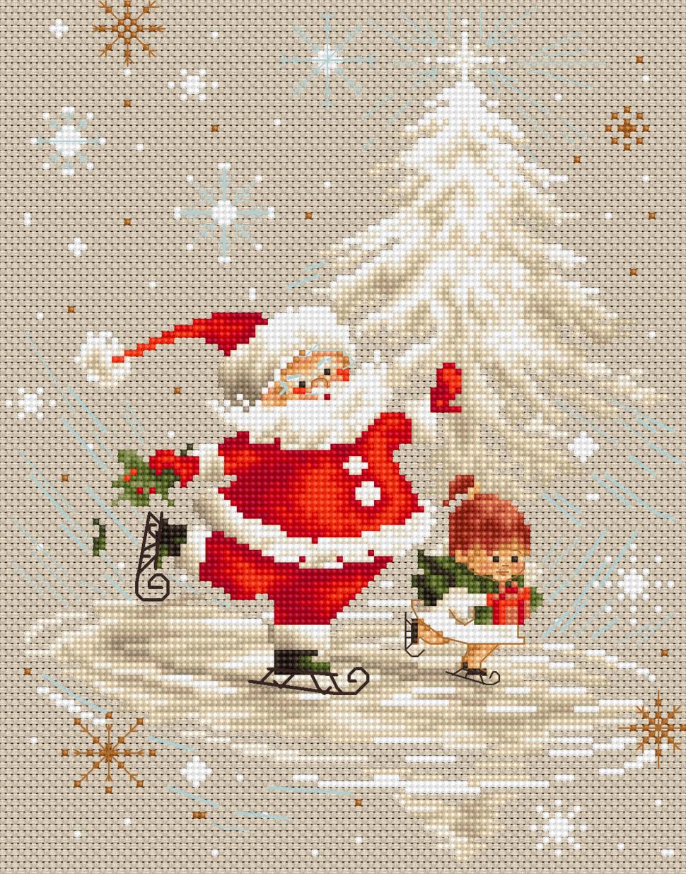 Вышивка крестом картин с изображением Деда Мороза 85