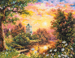 43-08 Вечерний звон Набор для вышивания Чудесная игла, счетный крест, размер: 40 x 31