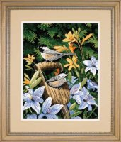 20068-A Chickadees & Lilies